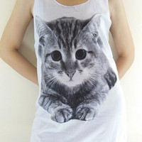 Kitten Kitty Cat Shirt -- Cat T-Shirt Animal Shirt White T-Shirt Women Tank Top Women Tunic Vest Sleeveless T-Shirt Animal T-Shirt Size M