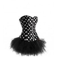 A3384 - Black and White Corset with Tutu
