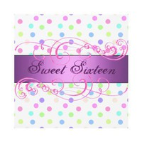 Colorful Polka Dot Sweet 16 Birthday Invitation from Zazzle.com