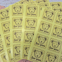 80 Stickers Envelope seals or Treat bags Seals For You Bears Bakery goods