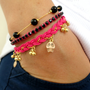 Sugar skull bracelet, set of 3, pink friendship bracelet black jewelry ghost braided bracelet best friend birthday present