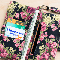 FLORAL IPHONE 6 WALLET Black Vintage Flower Card Holder Pouch Sleeve Bag Purse Samsung Galaxy s3 Galaxy s4 Note 2 Note 3 iPhone 4 4s 5 5s 5c
