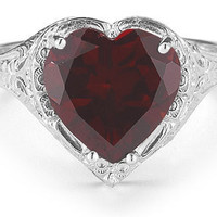 Garnet Filigree Heart Ring in 925 Sterling Silver