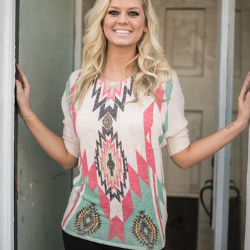 Tribal Top Mint and Coral