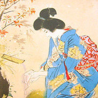 Vintage Japanese Painting Beautiful Woman Ito Shinsui Nihonga Style Showa Period