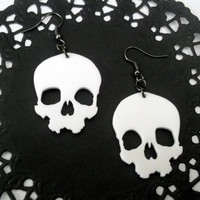 White Skull Earrings, Large Laser Cut Dangle Earrings, Creepy, Halloween