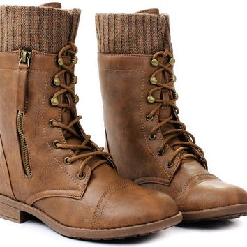JJF Shoes Justina Leatherette Sweater Cuff Lace Up Decor Zip Mid Calf Ankle Combat Boots