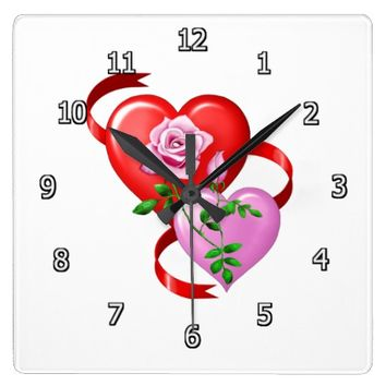 Hearts and Roses Square Clock