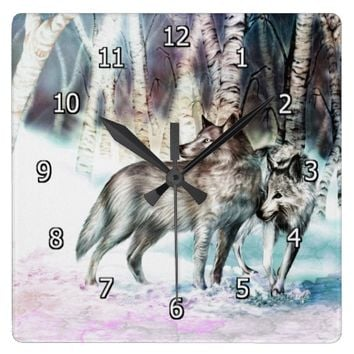 Wolves in Winter Square Clock