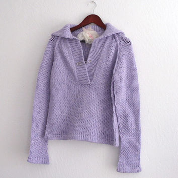 Holiday Sale Handmade Lavender Collared Sweater shabby chic