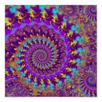 Hippy Fractal Pattern Purple Turquoise & Yellow Posters from Zazzle.com
