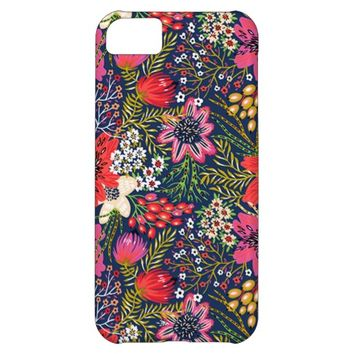 Vintage Bright Floral Pattern Fabric iPhone 5C Case