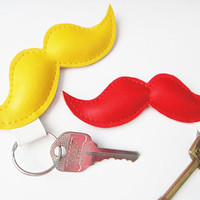 Moustache Keyrings by yummypocket on Etsy