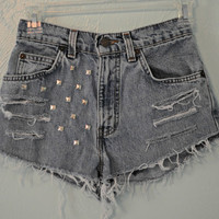 High Waisted, Destroyed & Studded Vintage Levi Jean Shorts