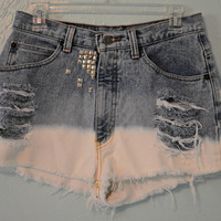 High Waisted, Dip Dyed Destroyed &amp; Studded Vintage Jean Shorts