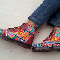 Ethno canvas Ikat shoes red leather handmade Rangkayo sneakers US 10 men ankle boots