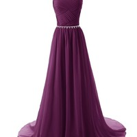 Mic Dresses Beaded Straps Bridesmaid Dresses with Sparkling Embellished Waist (US 2, Blue)