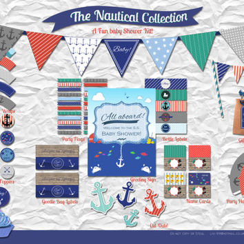 Nautical Baby Shower Printable Party Kit
