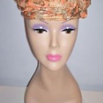 Beautiful Vintage Women's Millinery Dress Hat Size 21.5 Taupe Orange White L@@K!