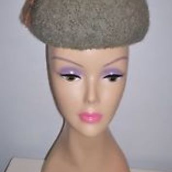 Interesting Vintage Women's Wool Millinery Dress Hat  Inches Tall Size 20 L@@K!
