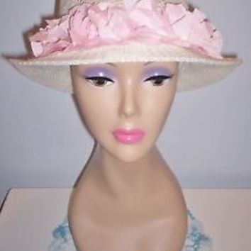 Lovely Vintage Women's White Millinery Dress Hat Tufted Fabric Band Sz 22 L@@K!