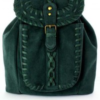 Dark Green Knit Backpack with Metal Hardware &amp; Flap Closure