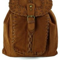 Brown Knit Backpack with Metal Hardware & Flap Closure