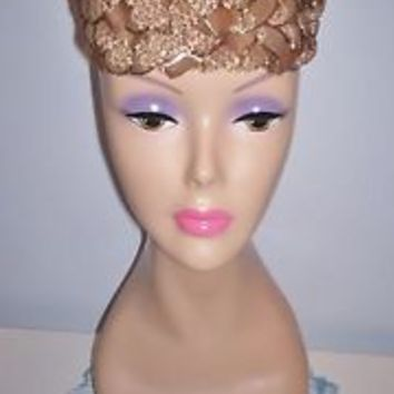Cute Vintage Women's Taupe-Colored Pillbox Dress Hat Straw-Like Size 21.5 L@@K!