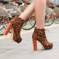 Discount China  Refinement Leopard Lace Up Thick Sole Ankle Boot YMR-8-5BR [YMR-8-5] - US$16.93 : Fashion Ladies Shoes&amp;Bags Wholesale Online at Egogog.com
