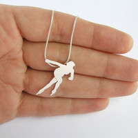 Speed Skater Pendant - Sterling Silver necklace - Woman Silhouette - Sport Jewelry - Hand Cut