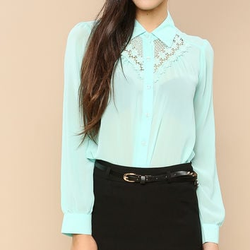 Sheer Lace Collar Blouse