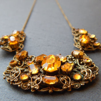 Orange Filigree Czech Glass Bohemian Necklace - 1930s Jewelry - Czech Glass Necklace - Filigree Necklace - Orange Stone Necklace