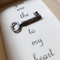 Framed antique key with &#x27;key to my heart&#x27; message