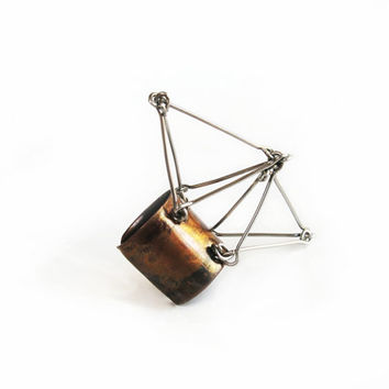 Metal ring made of oxidized copper and stainless steel geometric statement jewelry