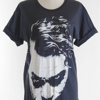 Joker T-Shirt - Joker Heath Ledger Batman The Dark Knight Movie T-Shirt Joker Shirt Black Tee Shirt Women T-Shirt Men T-Shirt Size L