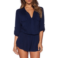 Young, Fabulous & Broke Malik Romper in Solid Navy