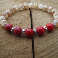 Mother Of Pearl Shell Beads Red Coral Valentine's Day Bracelet, Gift For Her, Love, Romance, Amour, Protection