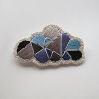 Geometric brooch hand embroidered gray cloud with a silver lining