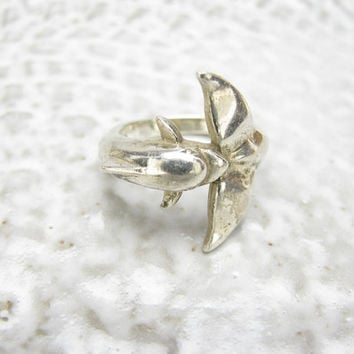 Vintage Sterling Silver Dolphin Ring