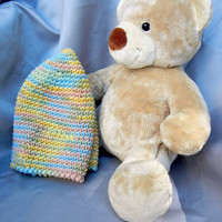 Cotton Crochet Hat Multi Color Pastel Adult Size Cloche
