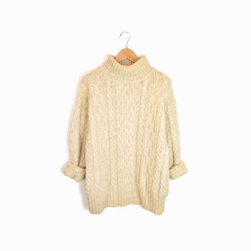 Vintage Cream Cable Knit Turtleneck Sweater with Pockets - women's large