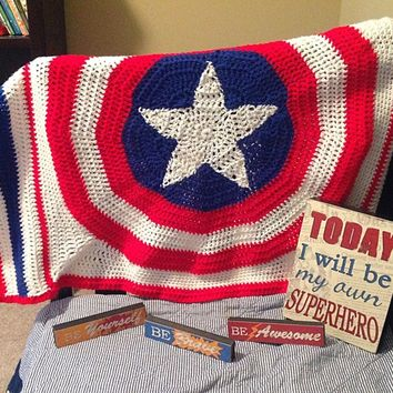 Red, white, and blue baby afghan, baby blanket with star, hero afghan