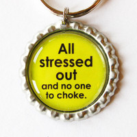 Bottlecap keychain, Funny Keychain, key chain, key ring, humor, green, bottlecap, stocking stuffer