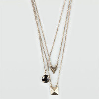 FULL TILT 3 Row Triangle/Stone/Pyramid Necklace 205769621 | Necklaces | Tillys.com
