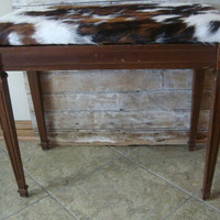 Vintage Wooden Cowhide Bench or Piano Bench With Storage