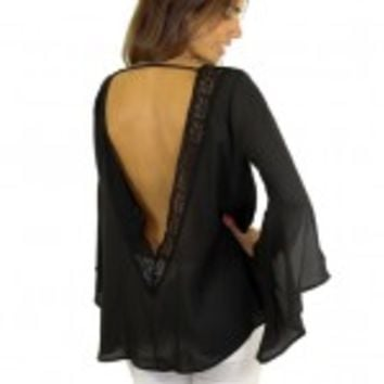 Black Chiffon Top With Low Back