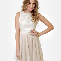 Gorgeous Gold Dress - Beige Dress - Brocade Dress - $44.00