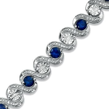 Lab-Created Ceylon Sapphire and 1/10 CT. T.W. Diamond Bracelet in Sterling Silver - 7.25