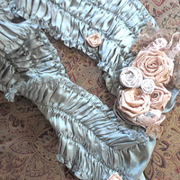 Blue Silk Roses and Lace Scarf with A Vintage Look