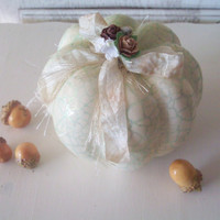 Shabby Chic Pumpkin Fall Decor White by SeasideRoseCreations